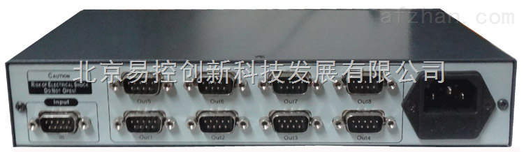 BEC-COM108分配器:1路RS232串口输入,分配8路RS232串口输出 l 支持1个RS232主口8个RS232从口 l 支持串接使用,最多可以串联8级 l 支持任意波特率,具体数值由发送设备决定 l 主口发送的数据将同时通过8个从口发出 l 8个从口发送的数据实时地通过逻辑与后从主口发出 l 数据发送和接收无延迟 l 可实现一台主机控制8台设备 l 可实现8台主机控制一台设备 l 全硬件设计,无任何协议限制 l 可通过特制耳朵上机柜 l 180V~240V交流供电 技术参数: