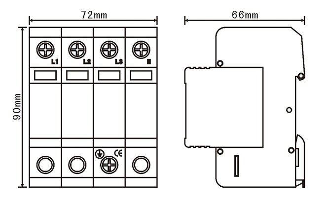 技术参数: 产品特点:  选用优质压敏电阻,性能稳定可靠。  适用于不同电网制式,保护更全面。  高雷电通流能力,ns级响应速度。  内置过热断路装置。  失效检测指示。  遥信报警接口。  35mm 导轨安装,标准模块化设计。  节能、环保,安装简单、方便,无须特殊维护。 安装注意事项:  安装前必须切断电源,严禁带电操作。  建议在防雷模块前端串联熔断器或自动断路器。  安装时请根据安装示意图所示连接,其中L为相线,N为零线,PE为地线,切勿错接。安装完成后,合上自动断路器(熔断器