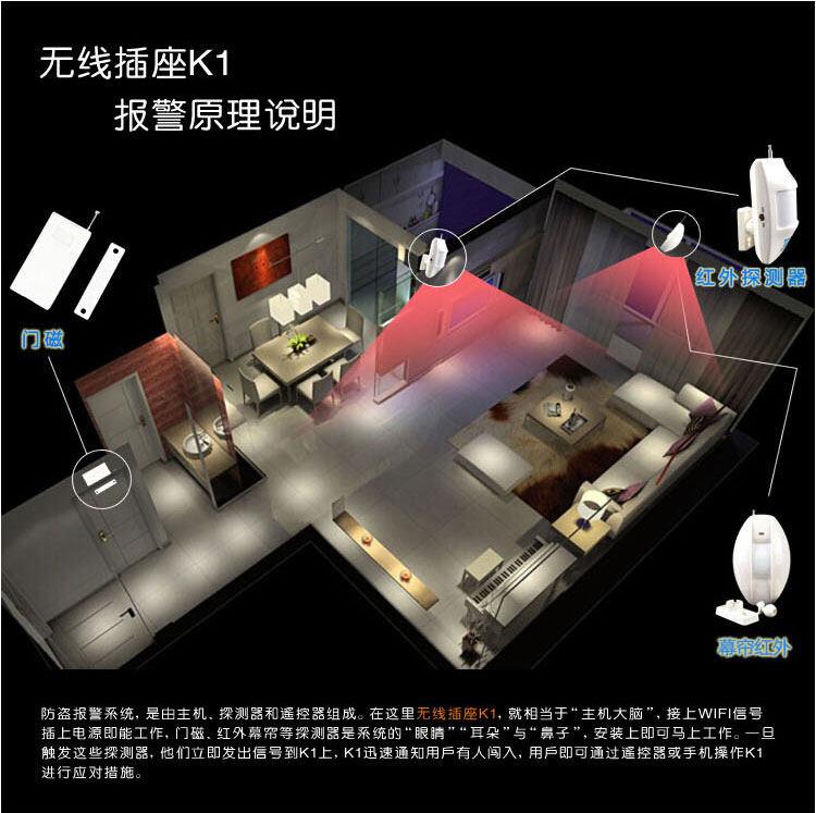 k1-猫管家家用报警器wifi远程控制智能家居店铺防盗安防系统无线插座